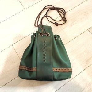 Vintage Kipling green bucket bag